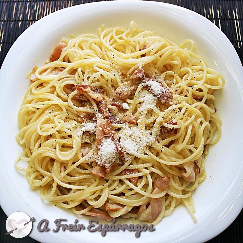 Espaguetis a la auténtica carbonara