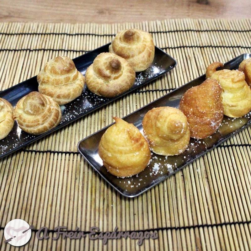 Buñuelos y profiteroles rellenos de crema pastelera