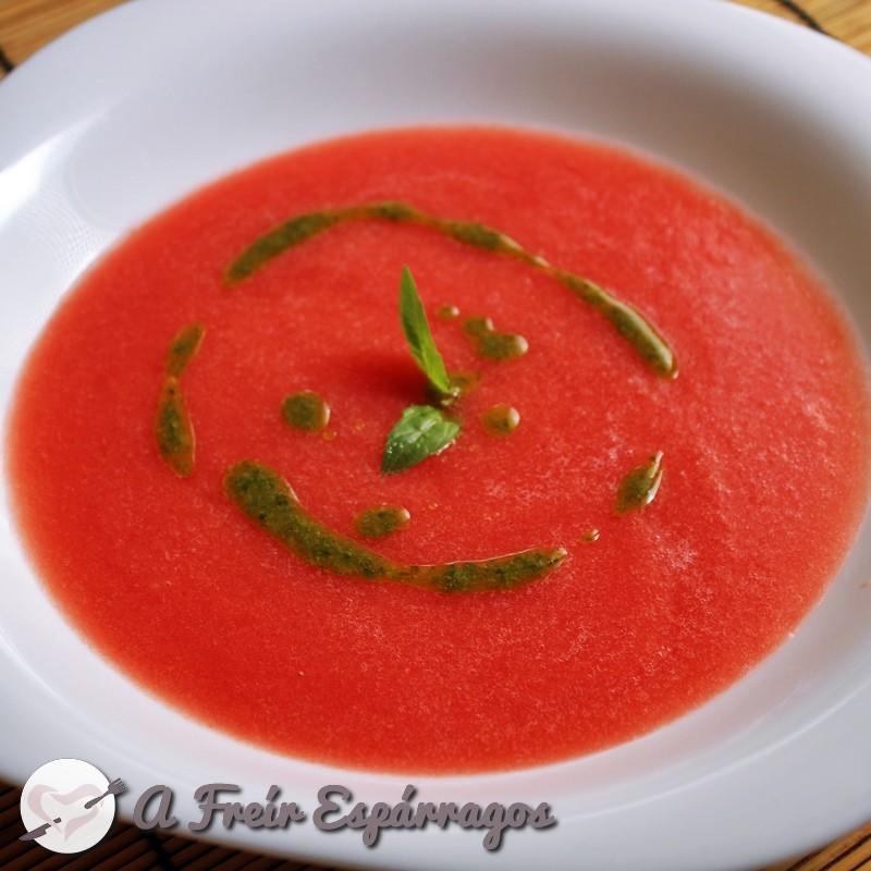 Sopa fría de sandía y tomate
