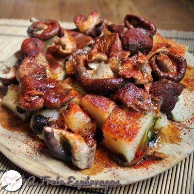 Shiitake a feira (versión vegetal del pulpo a feira)