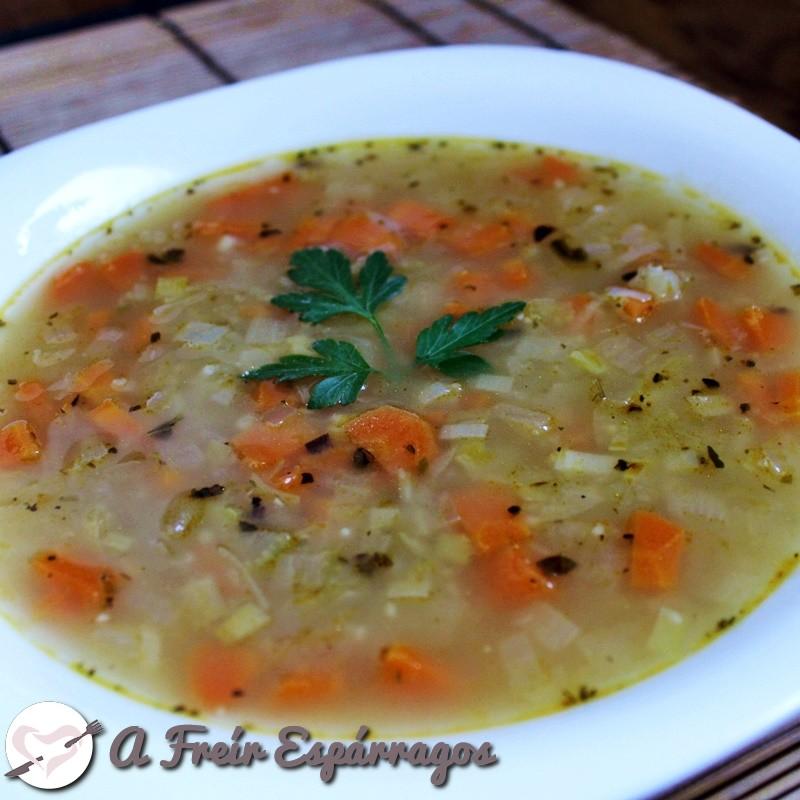 Sopa de hortalizas y couscous
